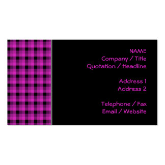 Check Pattern. Bright Pink and Black. Business Card