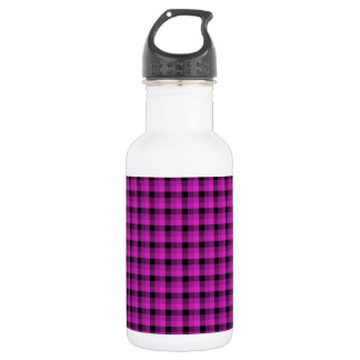 Check Pattern. Bright Pink and Black. Water Bottle
