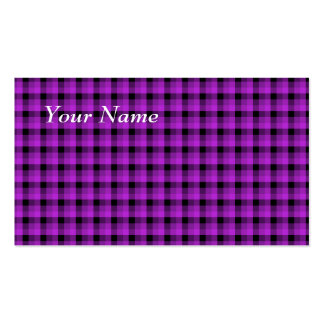 Check Pattern. Purple and Black. Business Card