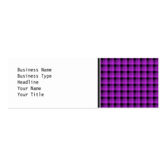 Check Pattern. Purple and Black. Mini Business Card