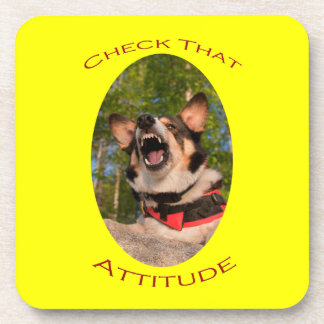Check That Attitude with Yellow Background Coasters