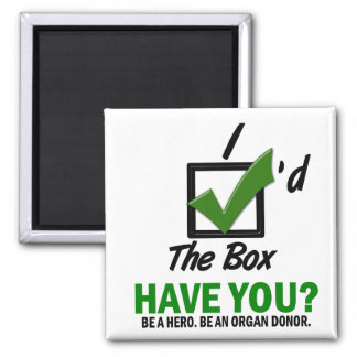 Check The Box Be An Organ Donor 2 Refrigerator Magnets