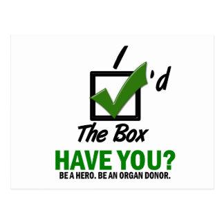 Check The Box Be An Organ Donor 2 Post Card