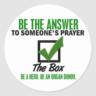 Check The Box Be An Organ Donor 3 Classic Round Sticker