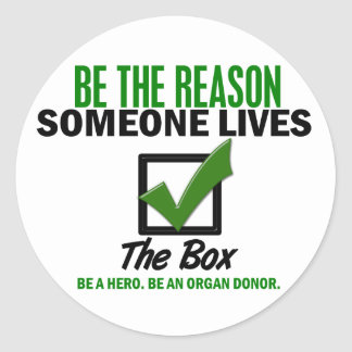 Check The Box Be An Organ Donor 4 Classic Round Sticker