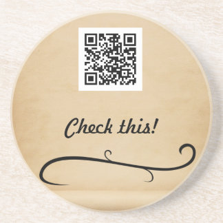 Check this QR code Sandstone Coaster