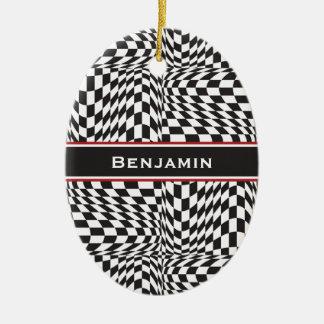 Check Twist Ceramic Ornament