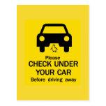 Check Under Car Sign, Australia Postcard