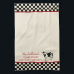"Checked Country Cow Personalized Kitchen Towels<br><div class=""desc"">Black and white with red accents country primitive style personalized kitchen towels. Note that towel design has been intentionally distressed to make it look used and dirty.  Personalize all text as you desire.  Click ""customize"" to resize text or change font styles.</div>"