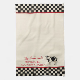 Checked Country Cow Personalized Kitchen Towels at Zazzle