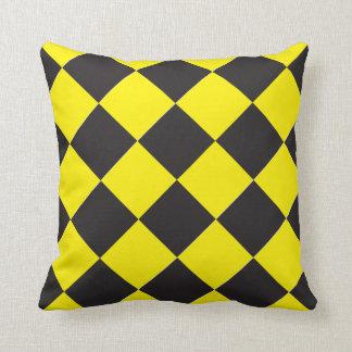 Checked Diamond Yellow and Black Throw Pillow
