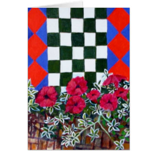 checked floral #2 greeting card