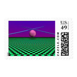 Checked Green Field Postage Stamps