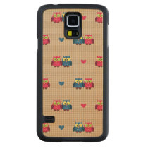 Checked pattern with love owls carved maple galaxy s5 case