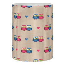 Checked pattern with love owls flameless candle