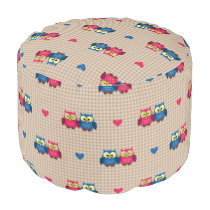 Checked pattern with love owls pouf