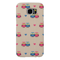 Checked pattern with love owls samsung galaxy s6 case
