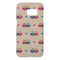 Checked pattern with love owls samsung galaxy s7 case