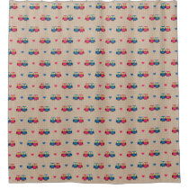 Checked pattern with love owls shower curtain