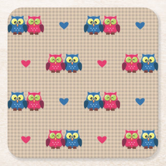 Checked pattern with love owls square paper coaster