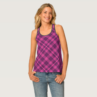 Checked Scottish Tartan Plaid In Pink And Purple Tank Top