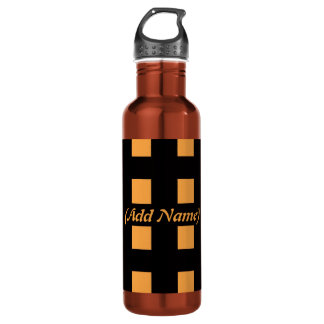Checker and Floral Personalized 24oz Water Bottle