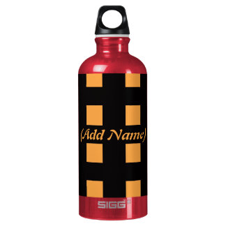 Checker and Floral Personalized Aluminum Water Bottle