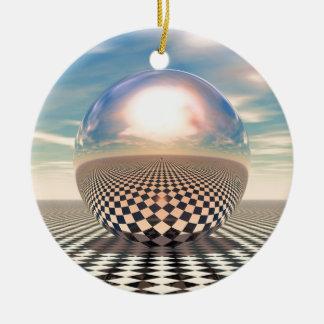 Checker Ball Ceramic Ornament