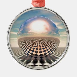 Checker Ball Metal Ornament