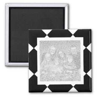 Checker black n white frame magnet