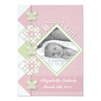 Checker Board Flowers & Butterflies Baby Girl Anno 5x7 Paper Invitation Card