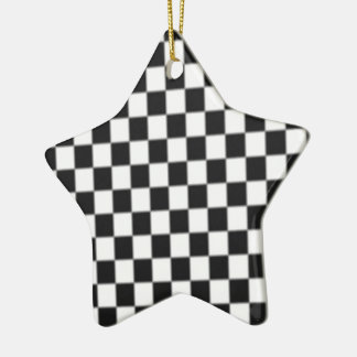 Checker Board Race Flag Design Ceramic Ornament