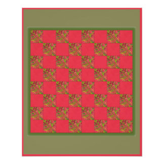 Checker Board Red Abstract Art Print