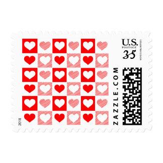 Checker Board Red & White Love Heart Stamp