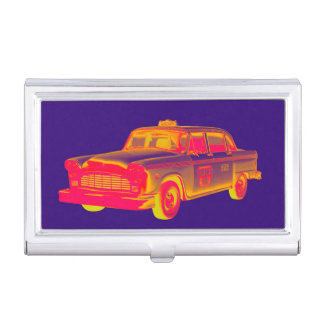 Checker Cab Taxi Pop Art Business Card Holder