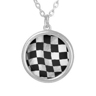 Checker Flag Round Pendant Necklace