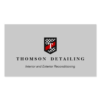 Checker Flag Shield Monogram Auto Body Repair Gray Business Card