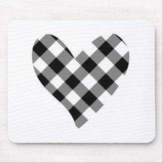 checker heart mouse pad