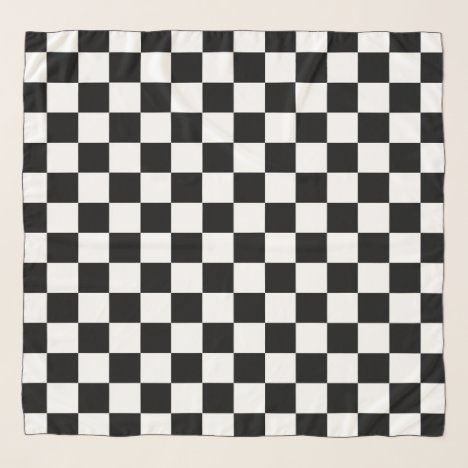 Checker Race Flag Chiffon Scarf