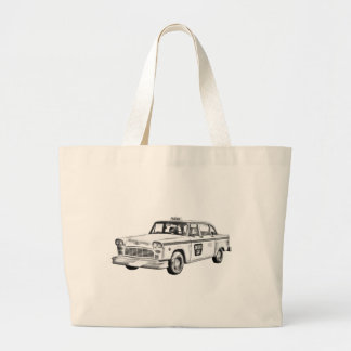 Checker Taxi Cab Illustration Large Tote Bag