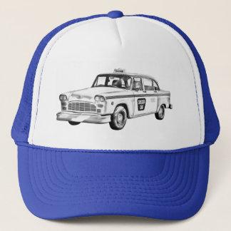Checker Taxi Cab Illustration Trucker Hat
