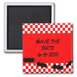 Checkerboard Ants 2 Inch Square Magnet