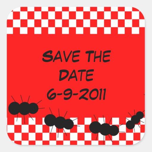 Checkerboard Ants Square Sticker