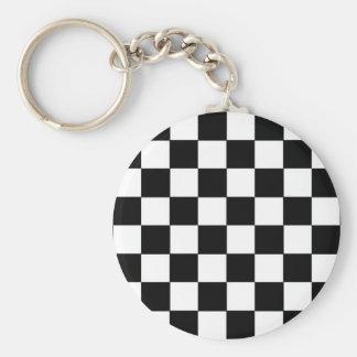 Checkerboard Basic Round Button Keychain