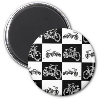 CheckerBoard Bicycles 2 Inch Round Magnet