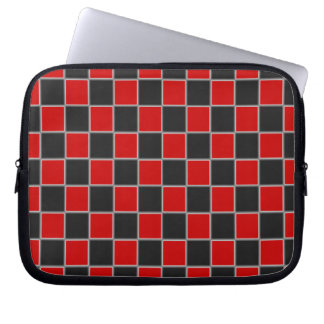 Checkerboard Black and Red Check Laptop Sleeve