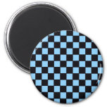 Checkerboard Blue & Black Abstract Fridge Magnets