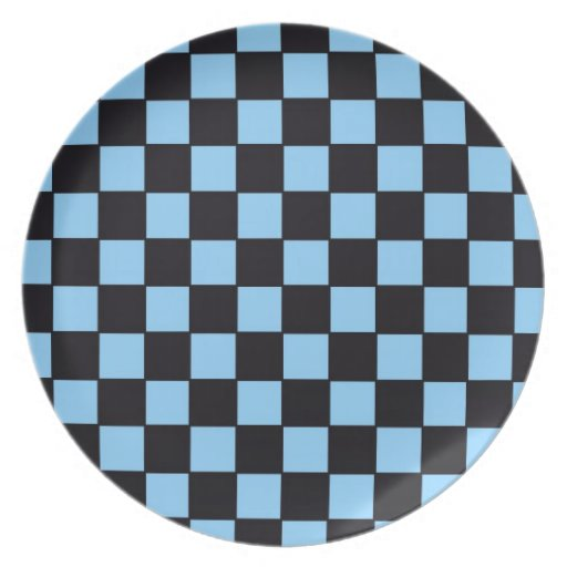 Checkerboard Blue & Black Abstract Plates