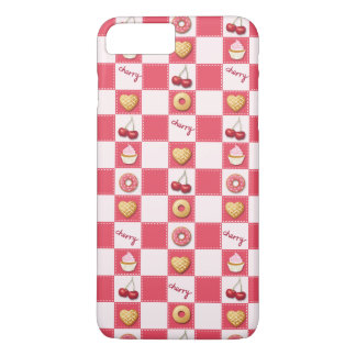 Checkerboard Cherries and Donuts iPhone 7 Plus Case