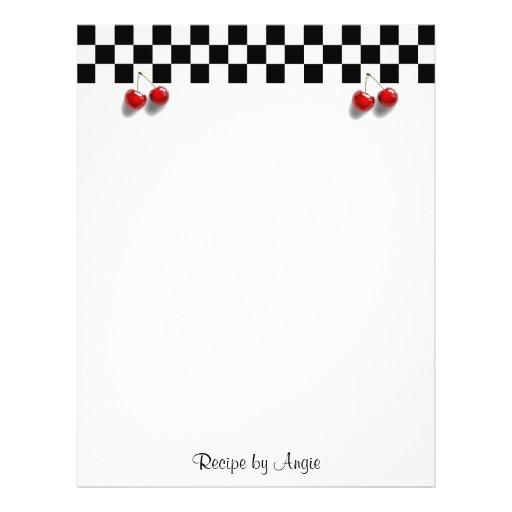 Checkerboard Cherries Recipe Paper Flyers